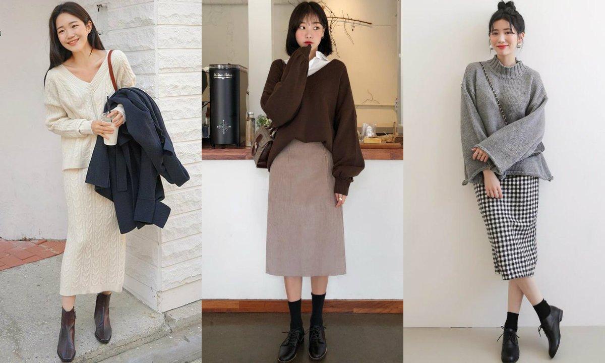 Công thức diện combo áo len và chân váy suông chuẩn style công sở