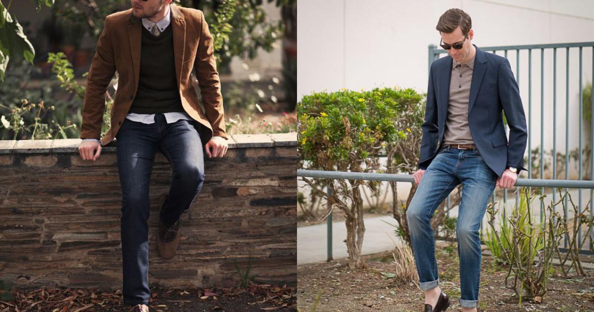 Áo thun polo kết hợp với quần kaki và áo khoác blazer